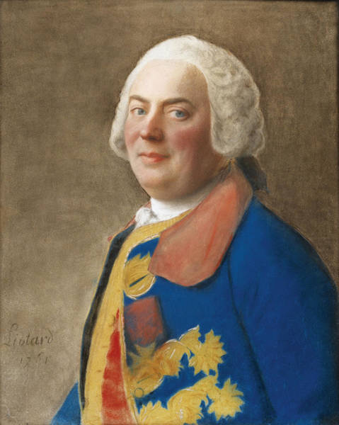 Jean Etienne Liotard Wall Art - Drawing - Portrait Of An Officer Wearing The Order Of The Saint Esprit by Jean-Etienne Liotard