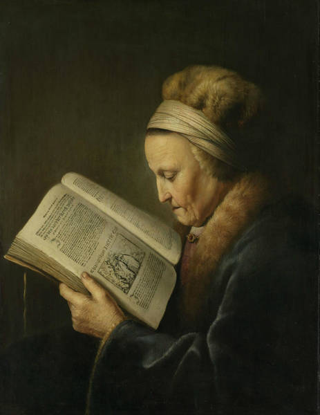 Wall Art - Painting - Portrait Of An Old Woman Reading by Gerrit Dou
