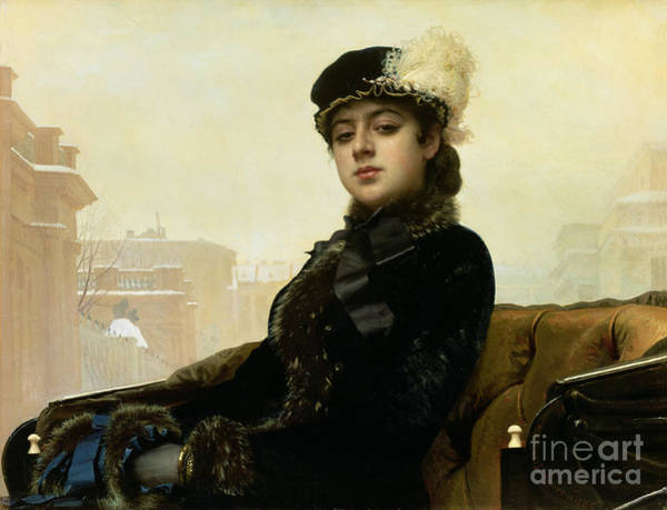 Carriage Painting - Portrait Of An Unknown Woman by Ivan Nikolaevich Kramskoy