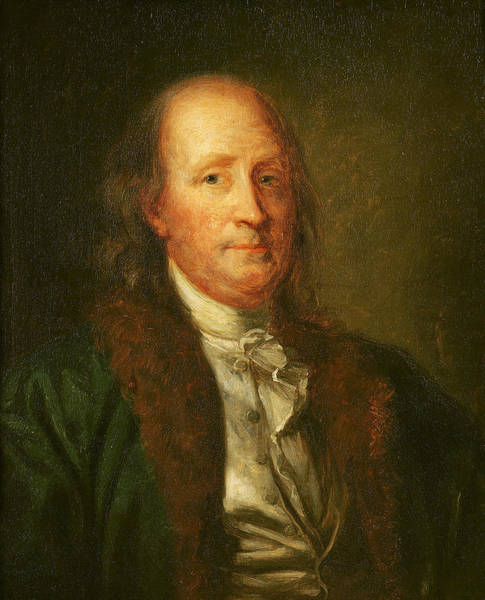 Declaration Of Independence Wall Art - Painting - Portrait Of Benjamin Franklin by George Peter Alexander Healy