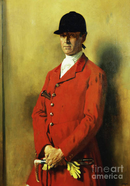Whip Painting - Portrait Of Captain Marshall Roberts, Master Of The Fox Hounds by William Orpen