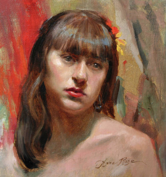 Study Painting - Portrait Of Kat by Anna Rose Bain