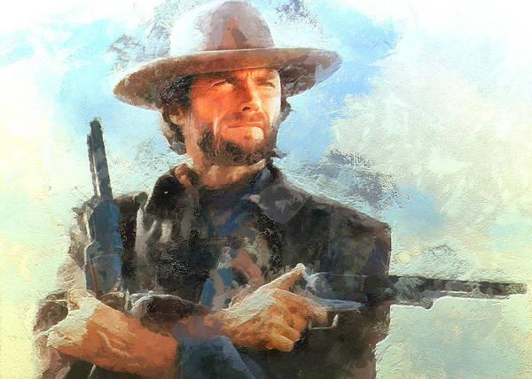 Digital Art - Portrait Of Clint Eastwood by Charmaine Zoe