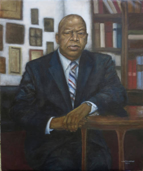 Member Of Congress Wall Art - Painting - Portrait Of Cong. John Lewis by Sylvia Castellanos