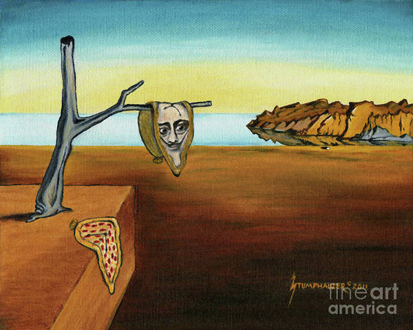 Clock Face Painting - Portrait Of Dali The Persistence Of Memory by Jerome Stumphauzer
