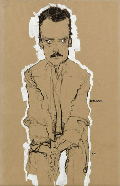 Drawing - Portrait Of Eduard Kosmack Frontal With Clasped Hands by Egon Schiele