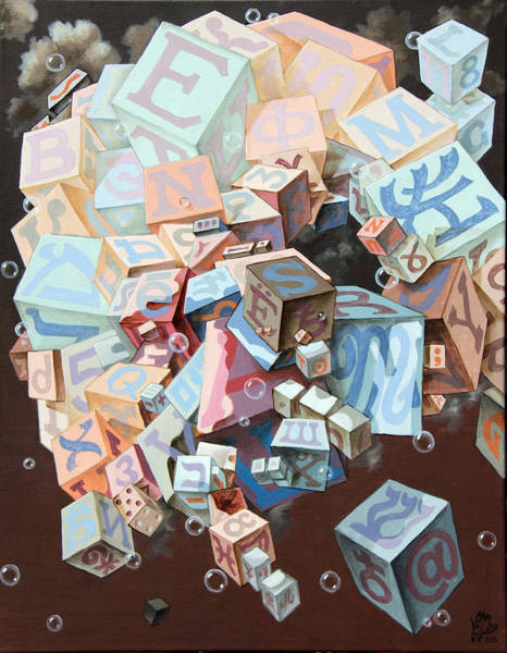 Painting - Portrait Of Einstein. Cubes. Another Alignment  by Victor Molev