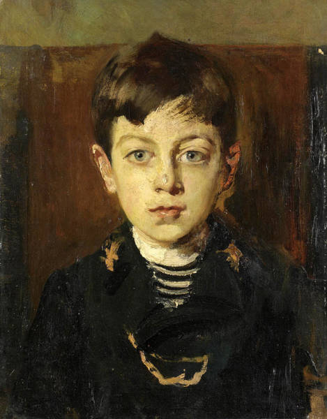 Cesare Painting - Portrait Of Enrico Petiti As A Young Boy by Cesare Tallone