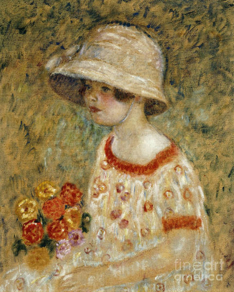 Carnation Painting - Portrait Of Frances Kilmer by Frederick Carl Frieseke