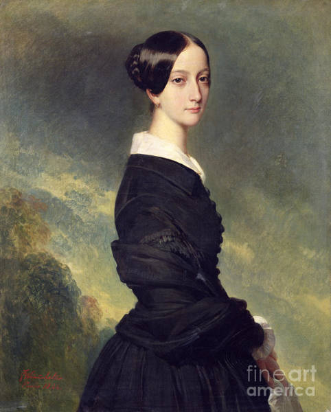 Grace Painting - Portrait Of Francisca Caroline De Braganca by Franz Xaver Winterhalter