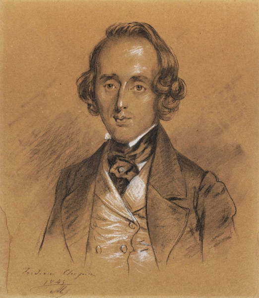 Wall Art - Drawing - Portrait Of Frederic Chopin by Nicolas Eustache Maurin