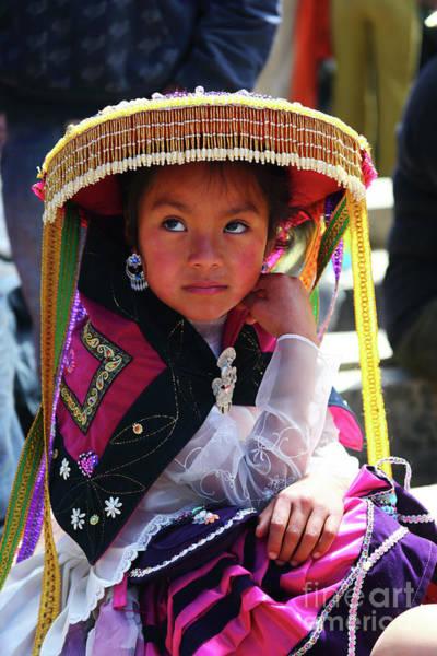 Photograph - Portrait Of Girl At Paucartambo Peru by James Brunker