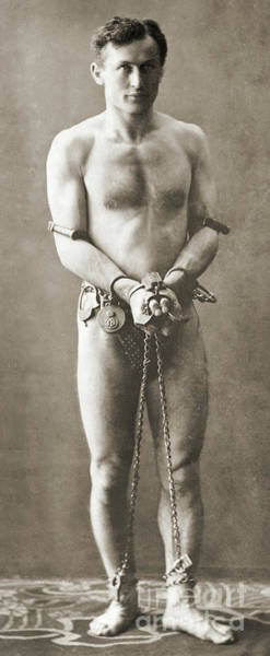 Wall Art - Photograph - Portrait Of Harry Houdini In Chains, Circa 1900 by American School