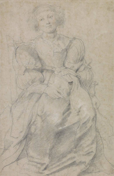 Drawing - Portrait Of Helene Fourment by Peter Paul Rubens