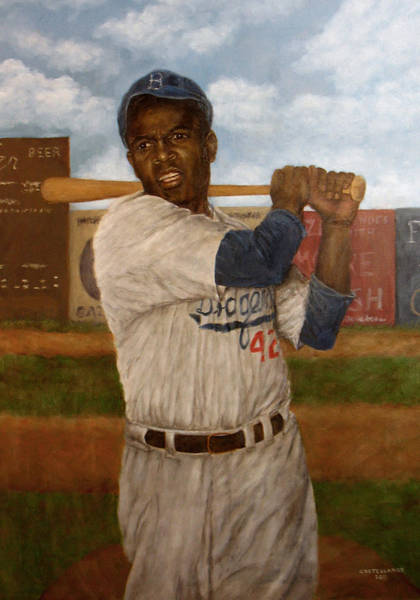Wall Art - Painting - Portrait Of Jackie Robinson by Sylvia Castellanos