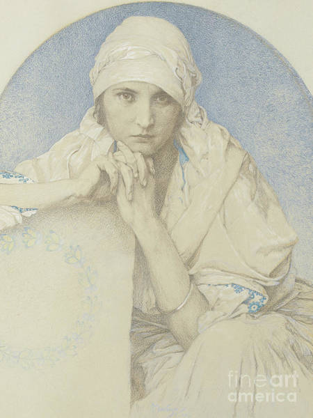 Attractive Drawing - Portrait Of Jaroslava  Jarca, Daughter Of The Artist, 1929 by Alphonse Marie Mucha