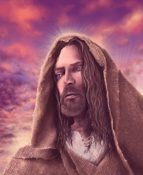 Father Sky Wall Art - Painting - Portrait Of Jesus by Bekim M