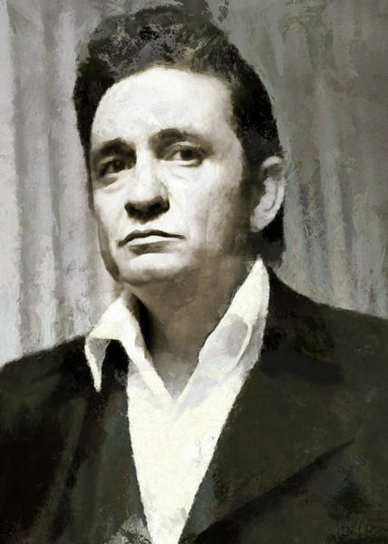 Digital Art - Portrait Of Johnny Cash by Charmaine Zoe