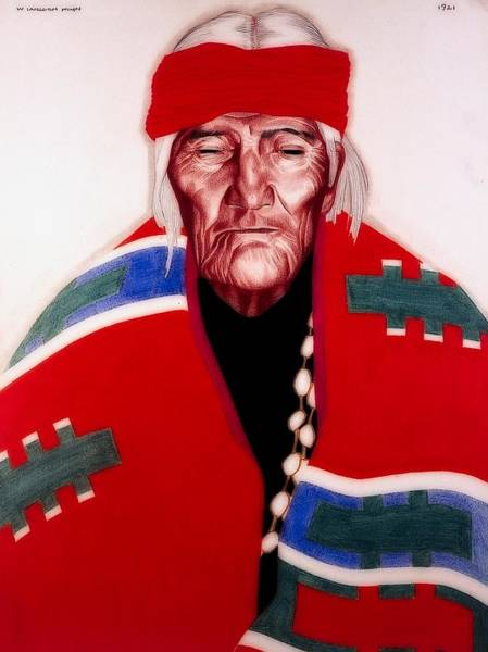 Native American Blanket Painting - Portrait Of Jose Saiow, Laguna Pueblo Medicine Man by Wilfred Kihn