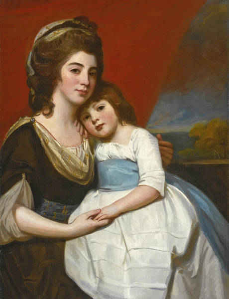 Romney Painting - Portrait Of Lady Georgiana Smyth And Her Son by George Romney