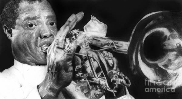 Wall Art - Drawing - Portrait Of Louie Armstrong by Carrie Jackson