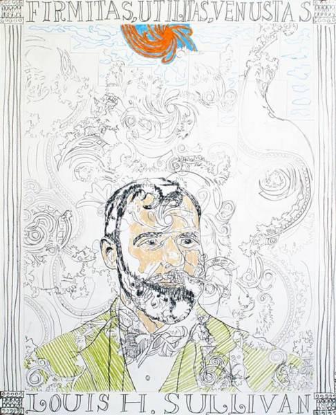 Organic Form Drawing - Portrait Of Louis Sullivan by William Douglas