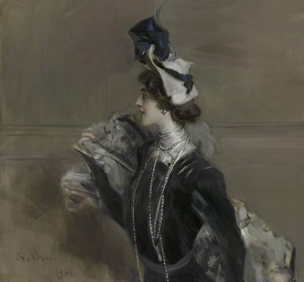 Italian Actress Wall Art - Painting - Portrait Of Mademoiselle Lina Cavalieri by Giovanni Boldini