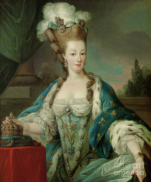 Ermine Wall Art - Painting - Portrait Of Marie-antoinette, Half-length, In Coronation Robes by Carle Vanloo