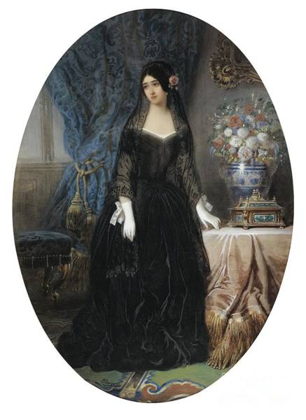 Wall Art - Painting - Portrait Of Marie Duplessis by Celestial Images