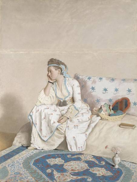 Jean Etienne Liotard Wall Art - Painting - Portrait Of Marie Fargues, Wife Of The Artist, In Turkish Costume, Jean-etienne Liotard, 1756 - 1758 by Celestial Images