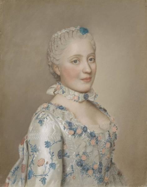 Jean Etienne Liotard Wall Art - Painting - Portrait Of Marie Josephe Of Saxony 1731-67, Dauphine Of France, Jean-etienne Liotard, 1749 by Celestial Images
