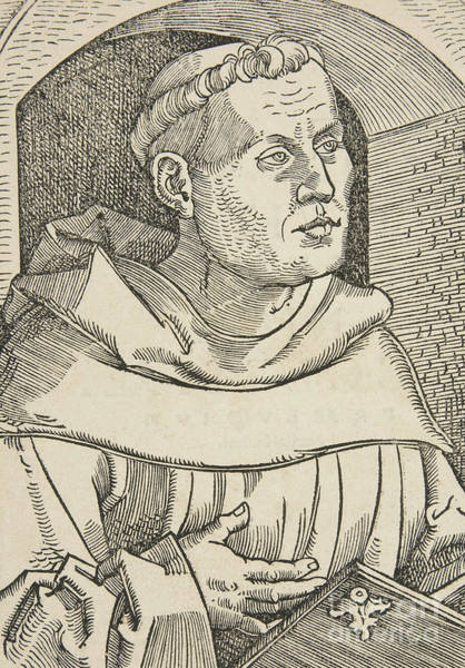 Woodcut Wall Art - Drawing -  Portrait Of Martin Luther by German School