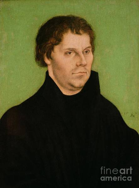 Cranach Painting - Portrait Of Martin Luther by Lucas Cranach the Elder