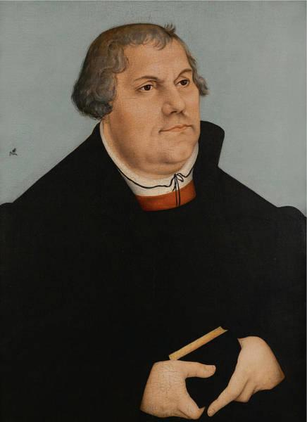 Cranach Painting - Portrait Of Martin Luther by Workshop of Lucas Cranach the Elder