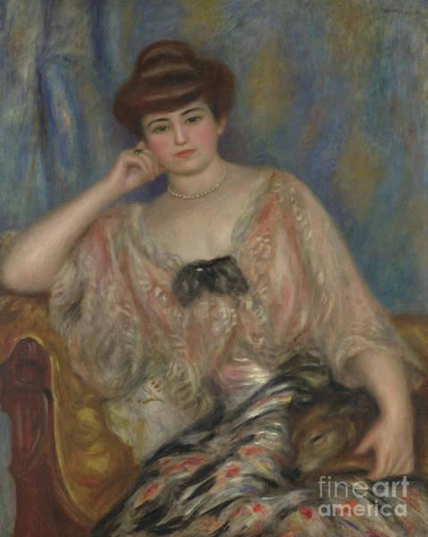 Elegant Dog Painting - Portrait Of Misia Godebska-sert by Pierre Auguste Renoir