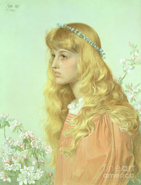 Backdrop Drawing - Portrait Of Miss Adele Donaldson, 1897 by Anthony Frederick Augustus Sandys
