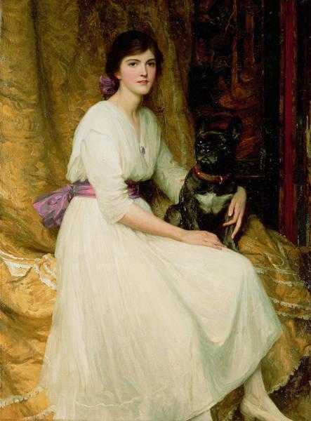 Elegant Dog Painting - Portrait Of Miss Dorothy Dicksee  by Sir Frank Dicksee
