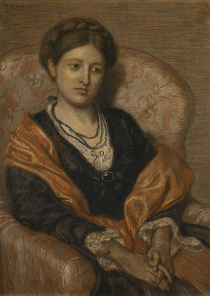 Wall Art - Pastel - Portrait Of Miss Iza Duffus Hardy by Ford Madox Brown