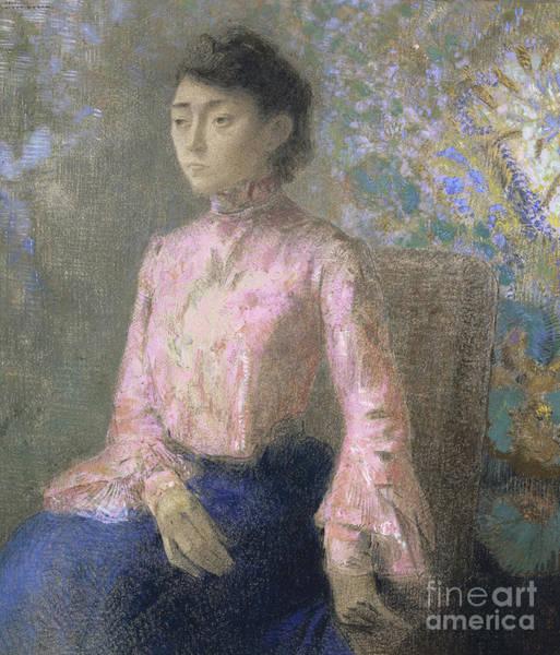 Wall Art - Pastel - Portrait Of Miss Jeanne Chaine, 1903 by Odilon Redon