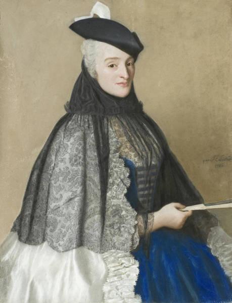 Jean Etienne Liotard Wall Art - Drawing - Portrait Of Mme Boere by Jean-Etienne Liotard