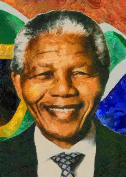 Digital Art - Portrait Of Nelson Mandela by Charmaine Zoe
