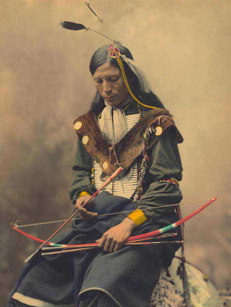 Archery Photograph - Portrait Of Oglala Sioux Council Chief Bone Necklace by American School