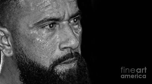Pro Wrestler Wall Art - Photograph - Portrait Of Pro Wrestler Will Cuevas Black And White Version II by Jim Fitzpatrick