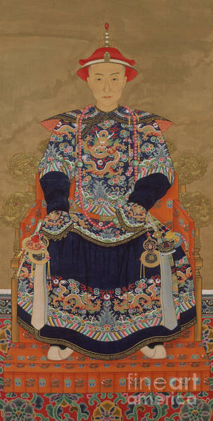 Crown Imperial Painting - Portrait Of Qianlong Emperor As A Young Man by Chinese School