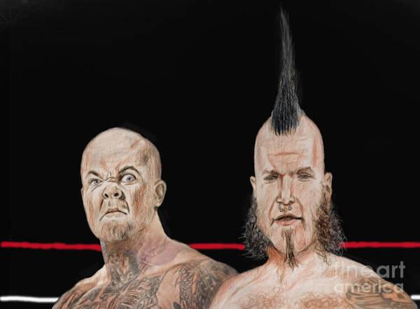Pro Wrestler Wall Art - Drawing - Portrait Of Reno Scum Pro Wrestler Adam Thornstowe II And Luster The Legend  by Jim Fitzpatrick