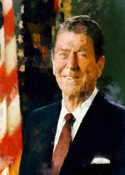 Digital Art - Portrait Of Ronald Reagan by Charmaine Zoe