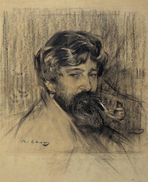 20th Century Man Drawing - Portrait Of Santiago Rusinol by Ramon Casas