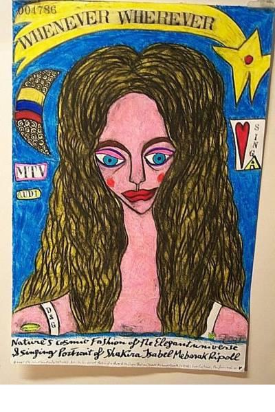 Wall Art - Painting - Portrait Of Shakira Isabel Mebarak Ripoll by Francesco Martin