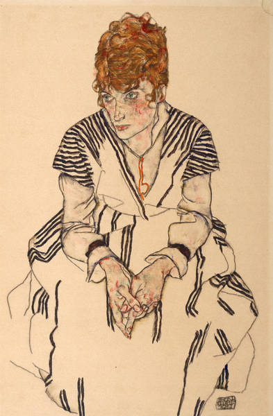Adele Painting - Portrait Of The Artist's Sister-in-law, Adele by Egon Schiele