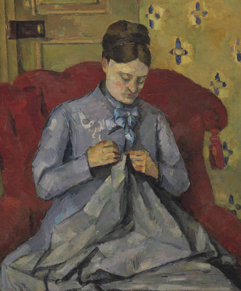 Mending Painting - Portrait Of The Artist's Wife by Paul Cezanne